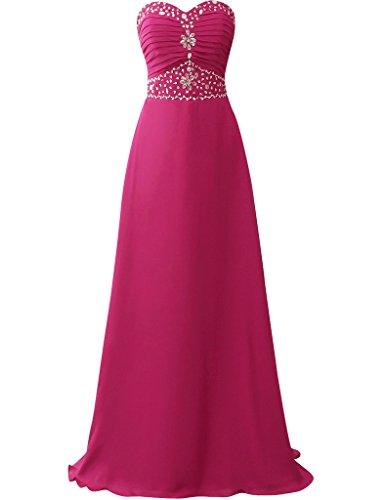 HUINI Damen Kleid Fuchsia
