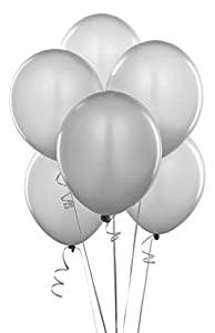 Gifts 4 All Occasions Limited SHATCHI-1027 - Lote de 10 globos de látex plateados metálicos de 30,5 cm para decoración de bodas, aniversarios, fiestas de cumpleaños