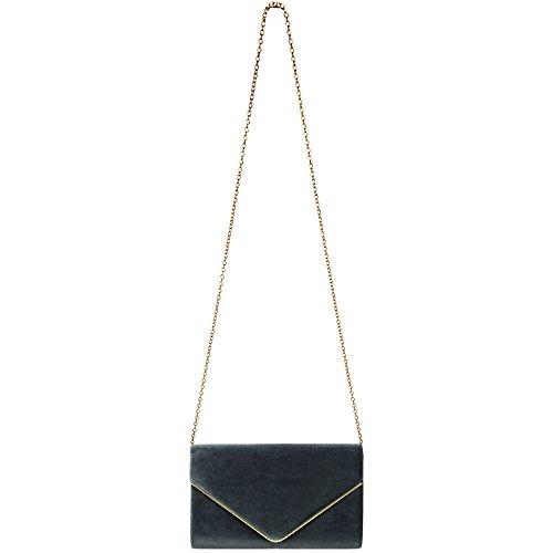 CASPAR TA375 Damen elegante Samt Envelope Clutch Tasche / Abendtasche mit langer Kette Dunkelgrau
