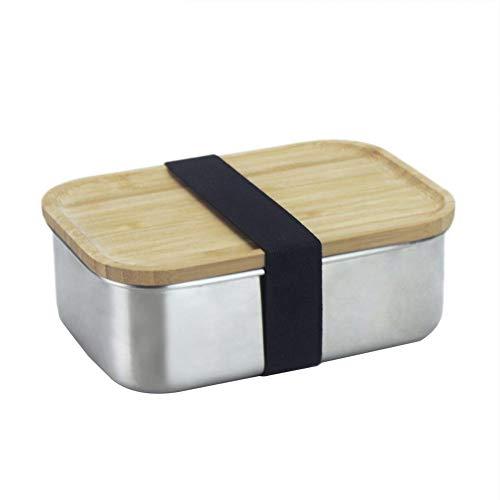 Brotdose Lunchbox 304 Edelstahl Quadratischer Sushi Box mit Bambus Deckel 800ml, Umweltfreundliche Brotbüchse - mikrowellen geeignet, Für Erwachsene Und Kinder