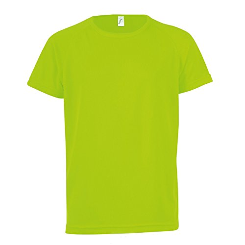 SOLS Kinder Unisex T-Shirt Sporty, Kurzarm (10 Jahre (130/140)) (Neon Grün)