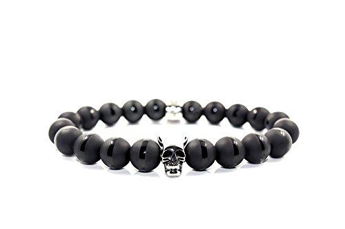 Totenkopf Armband Perlen - Biker Herren Perlenarmband aus schwarzen Onyx by Rock & Steel