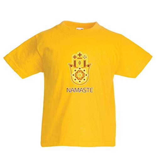 en/Mädchen T-Shirt Namaste Hmasa, Spirituelles Amulett, Meditation, für Yoga-LiebhaberInnen (3-4 Years Gelb Mehrfarben) ()