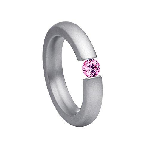 Heideman Ring Damen Spannring schmal aus Edelstahl Silber farbend matt Damenring für Frauen mit Swarovski Stein Zirkonia pink im Brillant Schliff 4mm