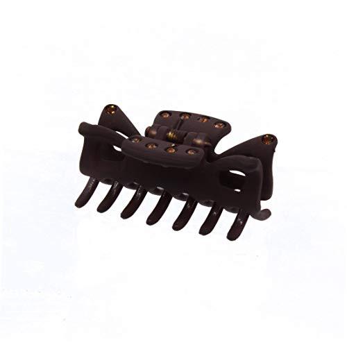 114 – 501- Pince pour cheveux en caoutchouc cm 4 x 2 Hauteur avec strass colorés – Pinces pour Cheveux marron