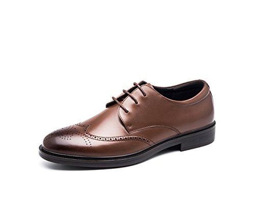 Hommes En Cuir Printemps Automne Noir Marron Mode Confortable Bas Top Casual Derby Oxford Mocassins En Dentelle Bullock Sculpté Chaussures brown
