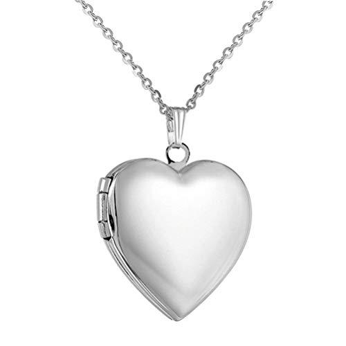 PAURO Collana da donna acciaio inox con medaglione forma di cuore