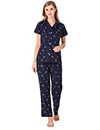 Masha Women's Cotton Flower Printed Night Suit-Pyjama Set