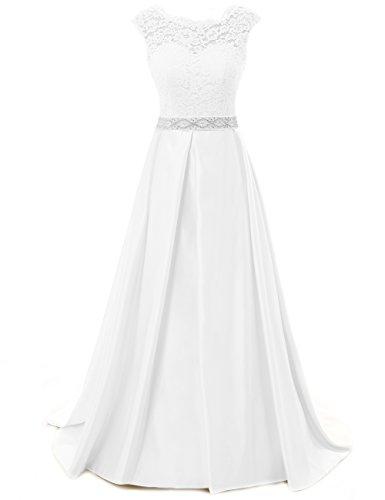 JAEDEN Jahrgang Brautkleider fuer Braut Einfach Brautkleid Kappenhuelse Hochzeitskleid Ivory UK10