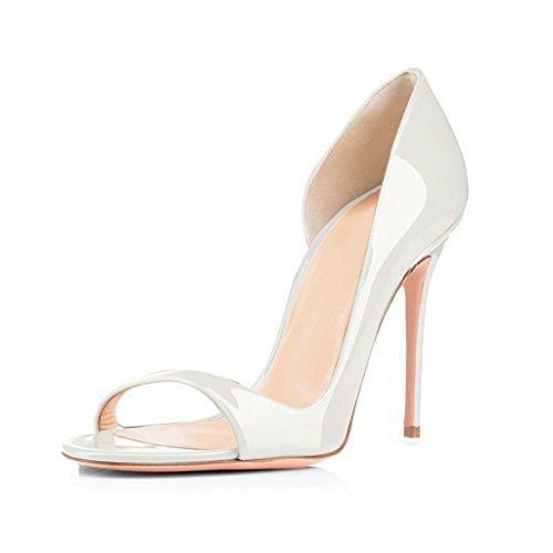 Edefs Mulheres Espiar Branco Sandálias De Dedo Aberto Toe Sapatos De Salto Alto D'orsay Verão