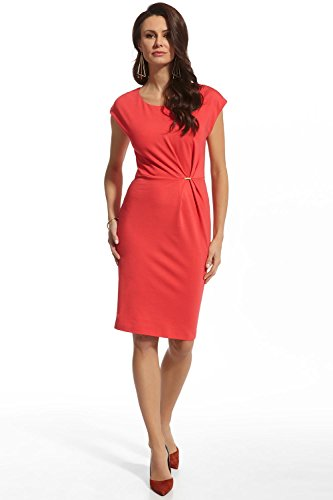 Ennywear - Robe - Crayon - Uni - Manches Courtes - Femme Rouge Rouge Rouge - Korallenrot