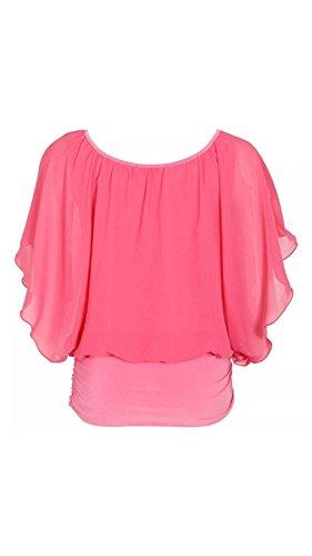 Damen Chiffon Overlay Baggy Batwing Shirt Top Koralle