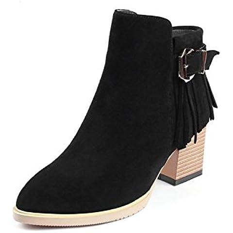 Autunno/inverno Ladies con davvero tacchi alti grosso Pointed Toe con frange Scarpe di stivaletti donna , black , 34