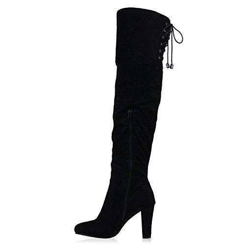 Modische Damen Stiefel Overknees Schleifen Perlen Absatz Schuhe Schwarz