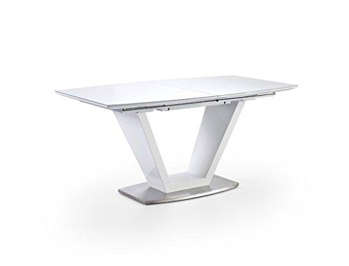 Esstisch Ilja 160(220)x90x76 cm Glastisch Hochglanz weiß Säulentisch Esszimmertisch Konferenztisch Küchentisch