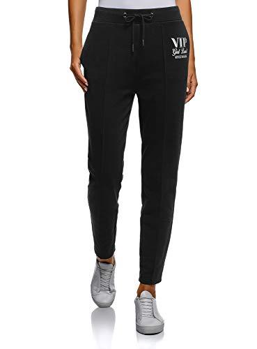 Oodji ultra donna pantaloni sportivi con scritta, nero, it 46 / eu 42 / l
