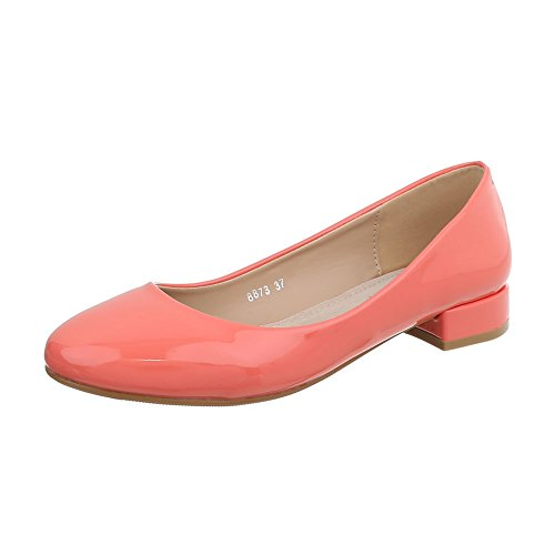 Ital-Design Klassische Ballerinas Damen-Schuhe Blockabsatz Coral, Gr 38, - Erstaunlich Kostüm Frauen