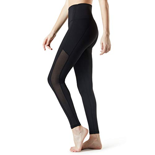 WOZOW Damen Leggings Gamaschen Solid Patchwork Mesh Net Dünn Skinny Joggers Stretch Slim Fitness Jogginghose Workout Sport Hose Yoga Lang Long Stoffhose (XL,Schwarz) Slim Stretch-cord-hose