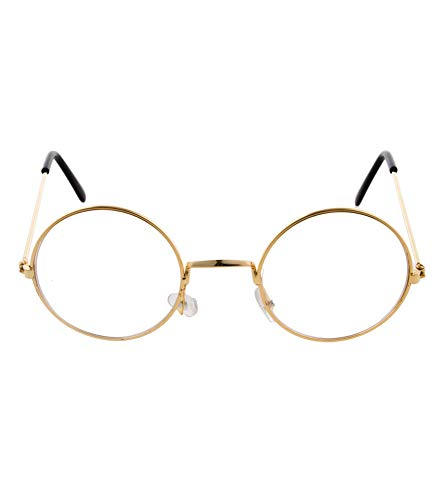 l Brille mit Gläsern - Gold - Partybrille zu Oma, Opa und Lehrer Kostümen ()