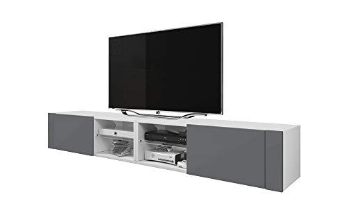 Élégant Double - Meuble TV/Banc TV (200 cm, éclairage LED optionnel) (Blanc Mat/Gris Brillant)