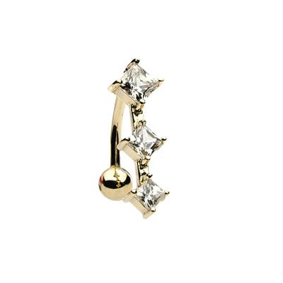 Solid 14k Gold Belly Button Bar with 3 Cubic Zirconia Gems
