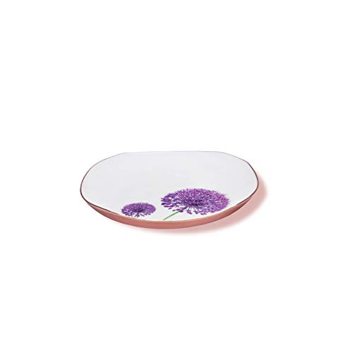 Jasper - Designer Plate Food Grade with Blossom Pattern for Home Gifts, Nuts, Cookies & Multipurpose (Rose Gold-10 inch)