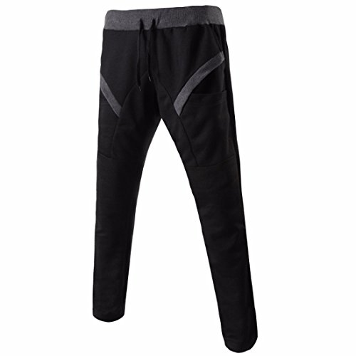Men's Long Casual Joggers Trousers Black