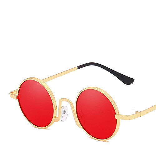 BJYG Sport-Sonnenbrille Vintage Round Frame polarisierte Sonnenbrille Männer und Frauen Aviator Sonnenbrille Multicolor Laufen, Reiten, Angeln Sonnenbrille (Farbe: Rot)