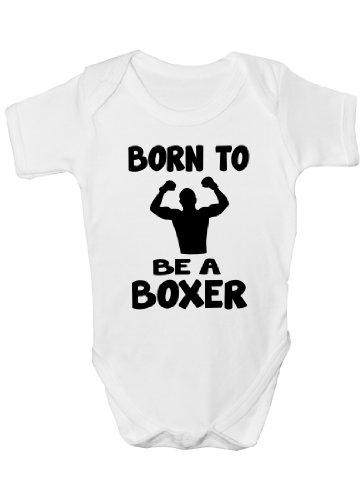 Born to Be A Boxer de Boxe Funny Cadeau Body pour bébé Fille/garçon sans Manches pour bébés - Blanc -
