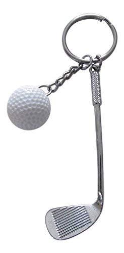 Schlüsselanhänger, Schmuck für Tasche, Club und Golf Ball Stahl, Neuheit. (Golf Schlüsselanhänger Club)