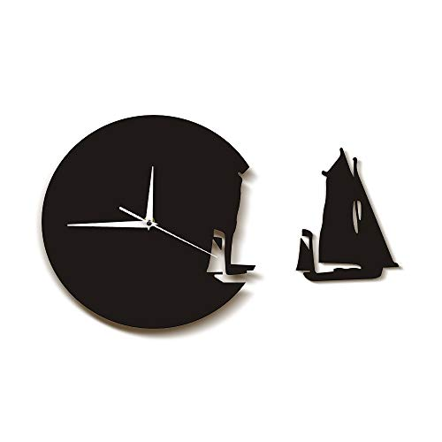 nuanyang Wanduhren,Uhren Yacht Verlassen Modernes Design Wohnkultur Meer Stil Wanduhr Das Segelboot Schiff Uhr Seeleute Marines Geschenk Ideal Für Jeden Raum In Der Küche Zu Hause (Schiff Der Marine Uhr)