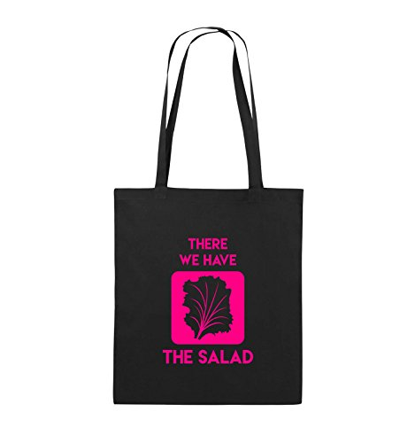 Comedy Bags - THERE WE HAVE THE SALAD - Jutebeutel - lange Henkel - 38x42cm - Farbe: Schwarz / Silber Schwarz / Pink