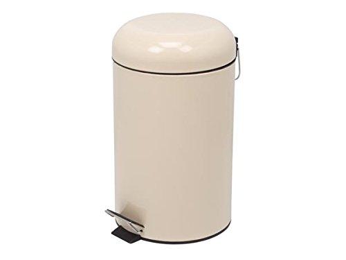 Perel HP100103 Treteimer, Rund, 12 L Kapazität, 25 cm Durchmesser x 43.5 cm Höhe, Cremefarben