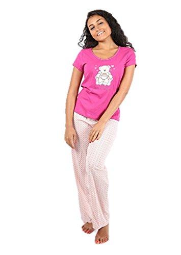 Ex Highstreet Damen Schlafanzug cremefarben cremefarben One size Gr. 44, Pink With Love Hearts (Pink Flannel Lounge-set)