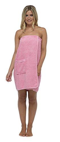 Damen Handtuch Dusche Wrap mit Gummizug in der Rückseite und Knopfverschluss, 100 % Baumwolle, Pink, S/M