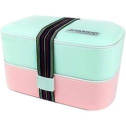 Bocal Alimentaire Thermo DUDDP Boîtes à bento étanches à la boîte à lunch à 2 étages avec des couverts et couverts