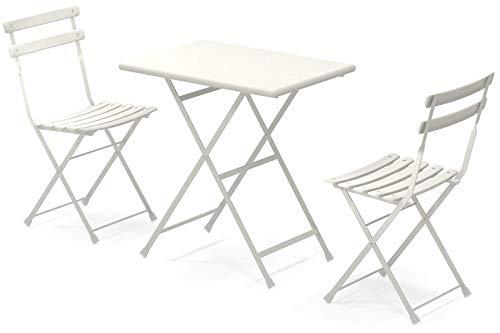 Set Arc en Ciel Emu: 2 Sedie pieghevoli Art. 314 + 1 Tavolo pieghevole cm. 50x70 Art. 334 colore bianco codice 23
