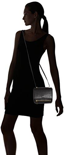 CTM Borsetta a spalla da Donna stampa Saffiano, tracolla regolabile, vera pelle made in Italy - 18x17x10 Cm Nero