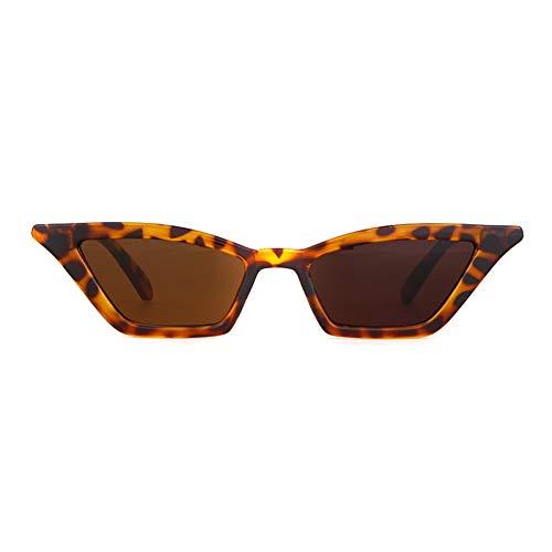 CCGKWW Weinlese-Schwarze Schmale Schlanke Eckige Sonnenbrille-Frauen-Marken-Retro Leopard-Kleine Cateye-Rahmen-Sonnenbrille-Schatten Weiblich