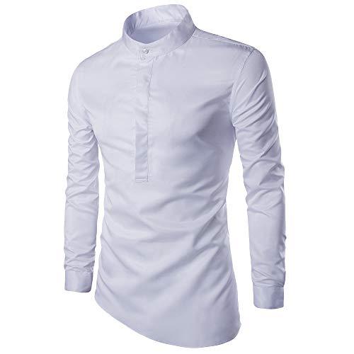 Oliviavan,Herren Herbst Slim Long Sleeve unregelmäßiges Hemd Casual Solid Shirt Bluse Top Einfarbiger Pullover Herren Kapuzenpullover Plaid Sweatjacke Pullover Hoodie Sweatshirt Business Hemd