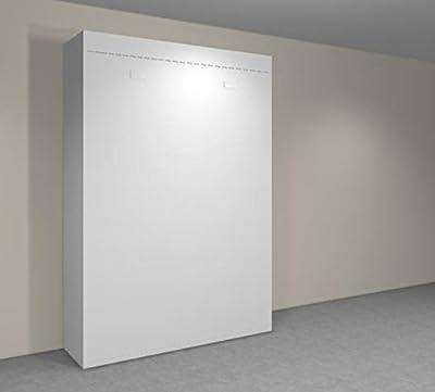 INSIDE 75 Agata - Armario con cama abatible vertical de 140 x 190 cm, color blanco