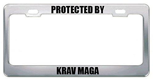 Geschützt von Krav MAGA United Kingdom Martial Arts Nummernschild Rahmen Tag perfekt für Männer Frauen Auto Garadge Dekor Anaheim Laser