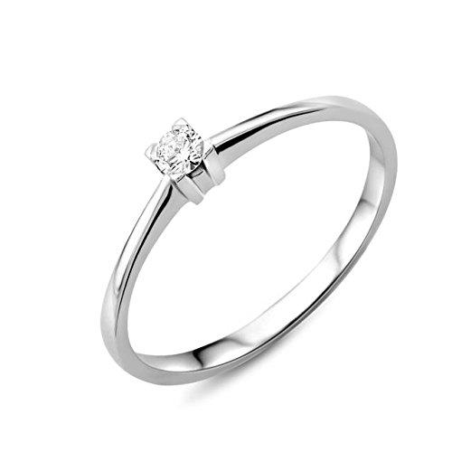 Miore Ring Damen Solitär Verlobungsring  Weißgold 18 Karat / 750 Gold  Diamant Brilliant  0.07 ct