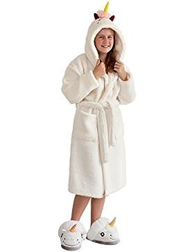 Einhorn Bademantel für Kinder, Mädchen Unicorn Fleecemantel mit Kapuze, Gürtel & Schweif - Close Up®