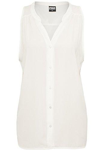 Urban Classics Damen Bluse Ladies Sleeveless Chiffon Blouse Weiß (Offwhite 00555)