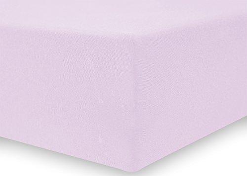 DecoKing 17968 80x200-90x200 cm Spannbettlaken lila 100% Baumwolle Jersey Boxspringbett Spannbetttuch Bettlaken Betttuch Lilac Amber Collection - 4