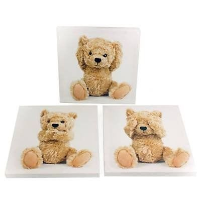 Children's Set of 3 Teddy Bear Canvas Pictures Baby Kids Nursery Room Wall Art - cheap UK light store.