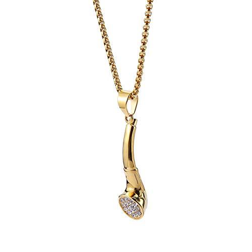 J.Me.Mi Halskette Edelstahl Pfeife Anhänger Künstlicher Diamant Persönlichkeit Schmuck Accessoires Geburtstag Geschenk für Männer,A