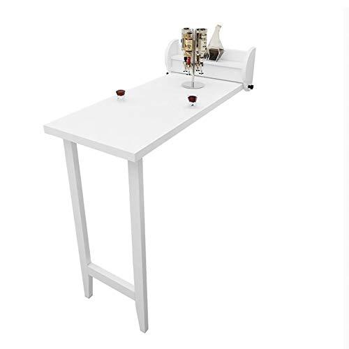 YOUXD Klappbarer Esstisch, Faltbarer Schreibtisch in Wandmontage, Holzfarbe weiß, spart Platz 108 * 51,8 cm - 2 Schubladen Naturholz-nachttisch