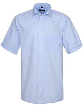 ETERNA Herren Kurzarm Hemd Modern Fit blau / hellblau mit Patch 8261.10.C167
